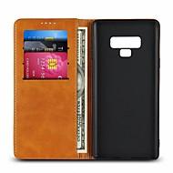 Недорогие Чехлы и кейсы для Galaxy Note 8-Кейс для Назначение SSamsung Galaxy Note 9 / Note 8 Бумажник для карт / со стендом Чехол Однотонный Твердый Настоящая кожа для Note 9 / Note 8