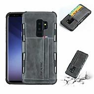 Недорогие Чехлы и кейсы для Galaxy S9 Plus-Кейс для Назначение SSamsung Galaxy S9 Plus / S9 Бумажник для карт / Защита от удара Кейс на заднюю панель Однотонный Твердый Кожа PU для S9 / S9 Plus / S8 Plus