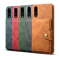 お買い得  携帯電話ケース-ケース 用途 Huawei P20 / P20 Pro / P20 lite ウォレット / カードホルダー / 耐衝撃 バックカバー ソリッド ハード PUレザー のために Huawei P20 / Huawei P20 Pro / Huawei P20 lite