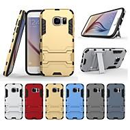Недорогие Чехлы и кейсы для Galaxy S7-Кейс для Назначение SSamsung Galaxy S7 Защита от удара / со стендом Кейс на заднюю панель Однотонный Твердый ПК для S7