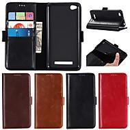 お買い得  携帯電話ケース-ケース 用途 Xiaomi Redmi Note 5A / Redmi Note 4X ウォレット / カードホルダー / スタンド付き フルボディーケース ソリッド ハード 本革 のために Xiaomi Redmi Note 4X / Xiaomi Redmi Note 4 / Xiaomi Redmi Note 3