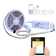 abordables Tiras de Luces LED-JIAWEN 5 m Tiras LED Flexibles / Sets de Luces / Luces inteligentes 300 LED SMD5050 1 cable de CA / 1 adaptador de 12V 2A Color de fuente de luz dual Impermeable / Control APP / Cortable 100-240 V 1