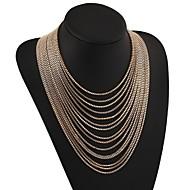 abordables -Femme Effets superposés Collier multi rangs - Hyperbole Or, Argent 48 cm Colliers Tendance Bijoux 1pc Pour Carnaval, Sortie