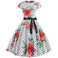 cheap -Women's Party Birthday Basic Slim Sheath Dress - Polka Dot Spring Cotton White L XL XXL