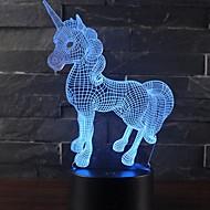 abordables Lámparas LED Novedosas-Hermoso regalo romántico unicornio 3d llevó la lámpara de mesa 7 cambio de color luz de la habitación de noche decoración lustre vacaciones novia niños juguetes