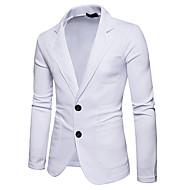 cheap -Men's Daily Business Fall Regular Blazer, Solid Colored Shirt Collar Long Sleeve Polyester Black / Dark Gray / Light gray L / XL / XXL / Business Casual / Slim