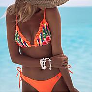 cheap -Women's Basic Halter Neck Orange Underwire Cheeky Bikini Swimwear - Solid Colored Geometric Print S M L Orange / Sexy
