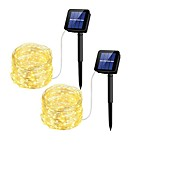 voordelige -10M Verlichtingsslingers 100 LEDs 2835 SMD 1Stel de bevestigingsbeugel in Warm wit Waterbestendig / Zonne-energie / Feest 4 V 3 stuks