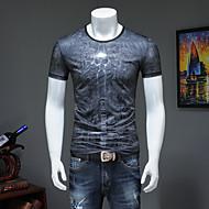 cheap -Men's Street chic / Punk & Gothic T-shirt - Color Block / Skull / Letter Print