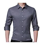 cheap -men's work plus size cotton slim shirt - solid colored shirt collar