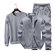 povoljno -Muškarci Sportski / Osnovni Dugih rukava Slim Activewear Set Jednobojni Okrugli izrez