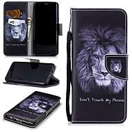 Недорогие Чехлы и кейсы для Galaxy S9-Кейс для Назначение SSamsung Galaxy S9 Кошелек / Бумажник для карт / Защита от удара Чехол Лев Твердый Кожа PU для S9
