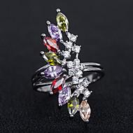 billige -Dame Kvadratisk Zirconium Klassisk Ring Plastik Europæisk Trendy Romantik Moderinge Smykker Regnbue Til Fest Stævnemøde 6 / 7 / 8 / 9 / 10