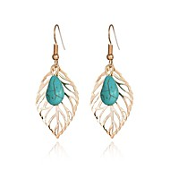 cheap -1 Pair Women's Hollow Out Drop Earrings - Leaf Classic Jewelry Turquoise For Office & Career