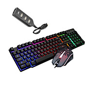 cheap -LITBest K6 USB Wired Mouse Keyboard Combo Portable Gaming Keyboard Luminous Gaming Mouse / Office Mouse / Ergonomic Mouse 1600 dpi