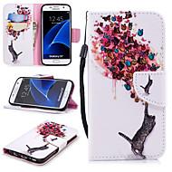 Недорогие Чехлы и кейсы для Galaxy S7-Кейс для Назначение SSamsung Galaxy S7 Кошелек / Бумажник для карт / Защита от удара Чехол Кот / Бабочка Твердый Кожа PU для S7
