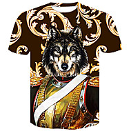 cheap -Men's Basic / Street chic T-shirt - Color Block / Animal Wolf, Print