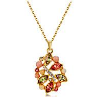 Dámské Vícebarevná Křišťál Singapur Náhrdelníky s přívěšky - Pozlacené, Umělé diamanty Kytky Romantické, Módní, Elegantní Roztomilý Zlatá 43 cm Náhrdelníky Šperky 1ks Pro Denní, Formální