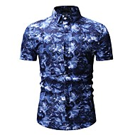 cheap -Men's Basic Shirt - Floral / Color Block / Graphic Print