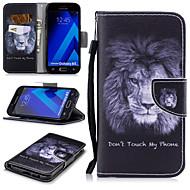Недорогие Чехлы и кейсы для Galaxy A5(2017)-Кейс для Назначение SSamsung Galaxy A5(2017) Кошелек / Бумажник для карт / Защита от удара Чехол Лев Твердый Кожа PU для A5 (2017)