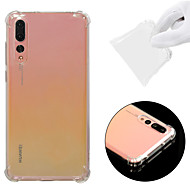cheap Cell Phone Cases-Case For Huawei P20 Pro Shockproof / Transparent Back Cover Solid Colored Soft TPU for Huawei P20 Pro