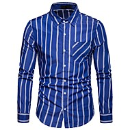 cheap -men's work cotton shirt - color block / striped shirt collar