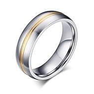 levne -Pánské Dvoubarevné Stopa Band Ring Titanová ocel Jednoduchý Fashion Ring Šperky Stříbrná Pro Dar 5 / 6 / 7 / 8 / 9