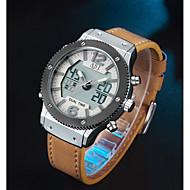 저렴한 -ASJ 남성용 스포츠 시계 디지털 시계 일본어 일본 쿼츠 천연 가죽 블랙 / 브라운 100 m 알람 캐쥬얼 시계 아날로그-디지털 캐쥬얼 패션 - 블랙 브라운 2 년 배터리 수명 / SSUO SR626SW + CR2025
