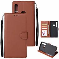 ราคาถูก -Case สำหรับ Samsung Galaxy A7 (2018) / Galaxy A9 (2018) Wallet / Card Holder / with Stand ตัวกระเป๋าเต็ม สีพื้น Hard หนัง PU สำหรับ A6 (2018) / A6+ (2018) / A7(2018)