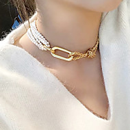 Women's White Classic Choker Necklace Imitation Pearl Trendy Gold 35 cm Necklace Jewelry 1pc For Street Club