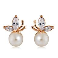 levne -Dámské Průsvitné Křišťál Klasika Peckové náušnice - Napodobenina perel Růže pozlacená Moderní Módní Cute Style Šperky Bílá Pro Denní Formální 1 Pair