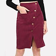 זול -אורך הברך של הנשים קו חצאיות - בצבע מלא