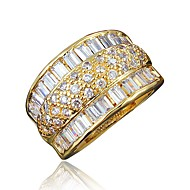 cheap -Women's Clear Cubic Zirconia Classic Ring 18K Gold Plated Imitation Diamond Stylish Luxury Romantic Fashion Elegant Ring Jewelry Gold / Silver For Party Engagement Gift Daily Date 6 / 7 / 8