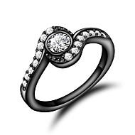 Χαμηλού Κόστους -Γυναικεία Διάφανο Cubic Zirconia Κλασσικό Δαχτυλίδι Δαχτυλίδι αρραβώνων 18Κ Επίχρυσο Προσομειωμένο διαμάντι Στυλάτο Πολυτέλεια Ρομαντικό Μοντέρνα Κομψό Μοδάτο Δαχτυλίδι Κοσμήματα Χρυσό / Μαύρο Για