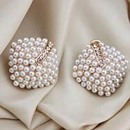 저렴한 -여성용 스터드 귀걸이 모조 진주 귀걸이 세련 단 보석류 골든 제품 일상 정장 1 쌍