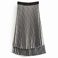 זול -חצאיות נדנדה של נשים - בצבע מלא