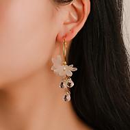 Χαμηλού Κόστους -Γυναικεία Κρυστάλλινο Κλασσικό Κρίκοι θαυμαστής σκουλαρίκια Ρητίνη Σκουλαρίκια Λουλούδι Ευρωπαϊκό Μοντέρνο Γλυκός Μοντέρνα Κοσμήματα Χρυσό Για Καθημερινά Δρόμος Αργίες Δουλειά Φεστιβάλ 1 Pair