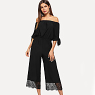 cheap -Women's Basic Black Jumpsuit, Solid Colored M L XL