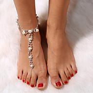 نسائي Barfotsandaler أنيق لؤلؤ تقليدي خلخال مجوهرات فضي من أجل السفر / حجر الراين