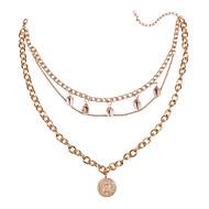 levne -Dámské vrstvené Náhrdelníky Mušle Cikánský Zlatá 42 cm Náhrdelníky Šperky 1ks Pro Dar Denní Street Dovolená Festival