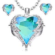 ieftine -Pentru femei Verde Cristal Set bijuterii Inimă Stilat, Elegant Include Cercei Stud Lănțișor Roșu trandafiriu / Albastru / Maro deschis Pentru Zilnic