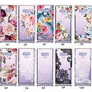 halpa -Etui Käyttötarkoitus Samsung Galaxy Note 9 Läpinäkyvä / Kuvio Takakuori Kukka Pehmeä TPU varten Note 9