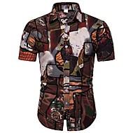 cheap -Men's Shirt - Floral / Geometric / Color Block Print Rainbow XXXL