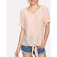 cheap -Women's Blouse - Solid Colored Bow / Lace up / Patchwork Beige M