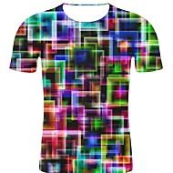 billige -T-skjorte Herre - Polkadotter / 3D / Grafisk, Trykt mønster Rock / overdrevet Regnbue XXL