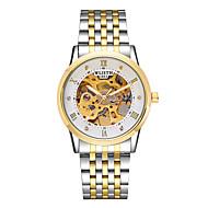 levne -Pánské mechanické hodinky Automatické natahování Nerez Bílá / Zlatá 30 m S dutým gravírováním Svítící Analogové Vintage Kostra - zlatá + černá zlatá + bílá Stříbrný / bílá