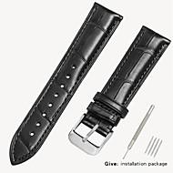 halpa -aitoa nahkaa / Krokotiilikuvioinen Watch Band Hihna varten Musta / Ruskea 18cm / 7 tuumaa / 19cm / 7.48 tuumaa 1.6cm / 0.6 tuumaa / 1.8cm / 0.7 tuumaa / 1.9cm / 0.75 tuumaa