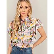 billige -Dame - Grafisk Blondér Bluse Regnbue M