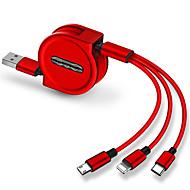 USB مصغر / البرق / نوع C كابل 1.0M (3FT) قابل للسحب / 1إلى 3 / الشحن السريع TPE / ABS + PC محول كابل أوسب من أجل iPad / Samsung / Huawei