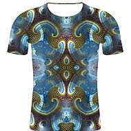 billige -T-skjorte Herre - 3D / Regnbue / Grafisk, Trykt mønster Punk & Gotisk / overdrevet Blå XXL